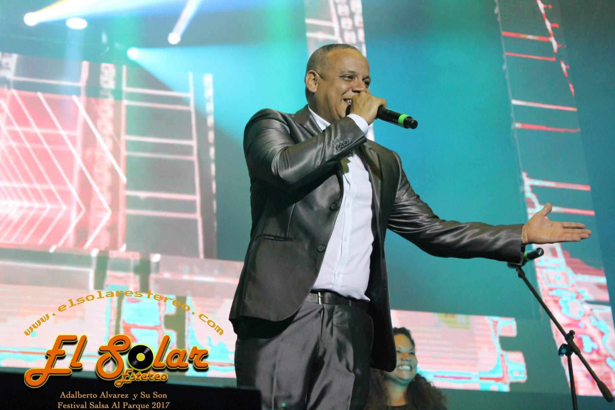 Vocalist Michel González during Salsa al Parque Festival presentation